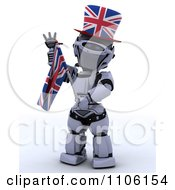 Clipart 3d Union Jack Jubilee Robot With A Top Hat And Flag Royalty Free Vector Illustration