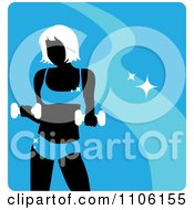Clipart Blue Fitness Avatar With A Woman Working Out With Dumbbells Royalty Free Vector Illustration