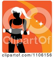 Clipart Orange Fitness Avatar With A Woman Working Out With Dumbbells Royalty Free Vector Illustration