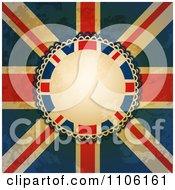 Distressed Grungy Union Jack Flag And Rosette With Copyspace
