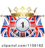 Clipart 3d Crowned Bingo Ball And Union Jack Flags Royalty Free Vector Illustration