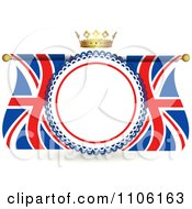 Clipart Crown Over A Rosette Frame With Union Jack Flags Royalty Free Vector Illustration