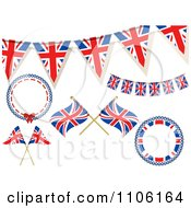 Clipart British Union Jack Frames Buntings And Flags Royalty Free Vector Illustration by elaineitalia