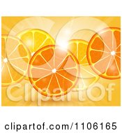 Clipart Fresh Orange Slices Over Flares And Rays Royalty Free Vector Illustration by elaineitalia