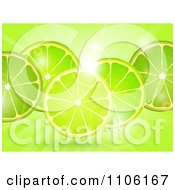 Clipart Fresh Lime Slicess Over Flares And Rays Royalty Free Vector Illustration by elaineitalia