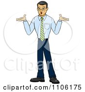 Clipart Careless Asian Business Man Shrugging His Shoulders Royalty Free Vector Illustration by Cartoon Solutions