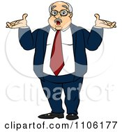 Clipart Careless Fat Business Man Shrugging His Shoulders Royalty Free Vector Illustration by Cartoon Solutions