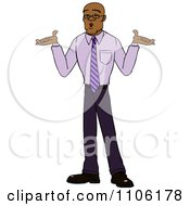 Clipart Careless Black Business Man Shrugging His Shoulders Royalty Free Vector Illustration by Cartoon Solutions #COLLC1106178-0176