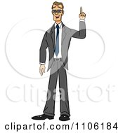 Clipart Skinny Business Man With An Idea Or An Aha Moment Royalty Free Vector Illustration by Cartoon Solutions