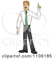 Clipart Blond Business Man With An Idea Or An Aha Moment Royalty Free Vector Illustration