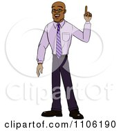Clipart Black Business Man With An Idea Or An Aha Moment Royalty Free Vector Illustration by Cartoon Solutions