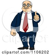 Clipart Happy Fat Business Man Holding A Thumb Up Royalty Free Vector Illustration by Cartoon Solutions #COLLC1106202-0176