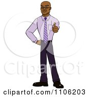 Clipart Happy Black Business Man Holding A Thumb Up Royalty Free Vector Illustration by Cartoon Solutions