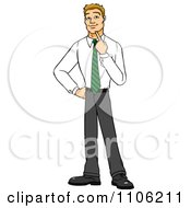 Clipart Blond Business Man In Thought With Her Finger To Her Chin Royalty Free Vector Illustration by Cartoon Solutions