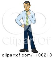 Clipart Asian Business Man In Thought With Her Finger To Her Chin Royalty Free Vector Illustration