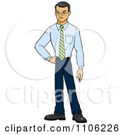 Clipart Proud Professional Asian Business Man Posing Royalty Free Vector Illustration