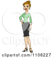 Clipart Proud Professional Blond Business Woman Posing Royalty Free Vector Illustration by Cartoon Solutions