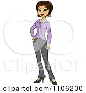 Clipart Proud Professional Hispanic Business Woman Posing Royalty Free Vector Illustration