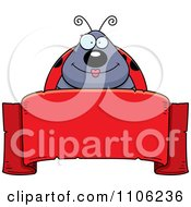 Clipart Happy Ladybug Over A Red Ribbon Banner Royalty Free Vector Illustration