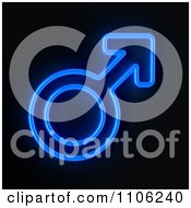 Glowing Blue Neon Sex Male Gender Symbol On Black