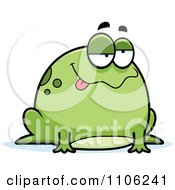 Clipart Chubby Drunk Or Sick Frog Royalty Free Vector Illustration by Cory Thoman