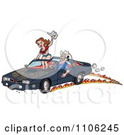Clipart Man Peeling Out In A 1978 Trans Am Convertible With His Lady Standing Up On The Seat Royalty Free Vector Illustration by LaffToon