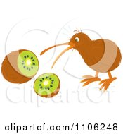 Clipart Shocked Kiwi Bird And Fruit Royalty Free Vector Illustration by Alex Bannykh