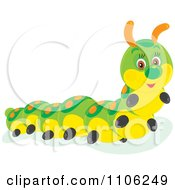 Clipart Happy Cute Green And Yellow Caterpillar Royalty Free Vector Illustration by Alex Bannykh