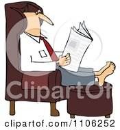 Clipart Man Reading The Newspaper With His Feet Up On An Ottoman Royalty Free Vector Illustration by djart