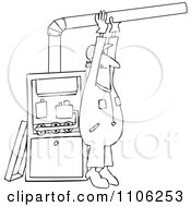 Clipart Outlined Furnace Installer Man Adjusting A Pipe Royalty Free Vector Illustration by Dennis Cox