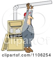 Clipart Furnace Installer Man Adjusting A Pipe Royalty Free Vector Illustration by djart