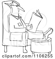 Clipart Outlined Man Reading The Newspaper With His Feet Up On An Ottoman Royalty Free Vector Illustration