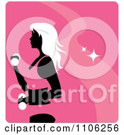 Clipart Pink Fitness Avatar With A Woman Working Out Doing Alternating Bicep Curls With Dumbbells Royalty Free Vector Illustration