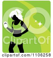 Green Fitness Avatar With A Woman Working Out Doing Bicep Curls With Dumbbells
