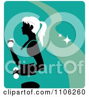 Clipart Turquoise Fitness Avatar With A Woman Working Out Doing Alternating Bicep Curls With Dumbbells Royalty Free Vector Illustration