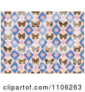 Clipart Seamless Diamond Butterfly And Floral Pattern Royalty Free Vector Illustration by Cherie Reve