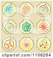 Clipart Christmas Ornaments On Stripes Royalty Free Vector Illustration by Cherie Reve
