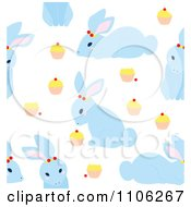 Clipart Seamless Blue Bunny Rabbit And Cupcake Background Pattern Royalty Free Vector Illustration by Cherie Reve