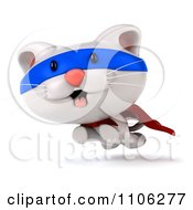 Clipart 3d Cute White Kitten Super Hero Leaping Royalty Free CGI Illustration