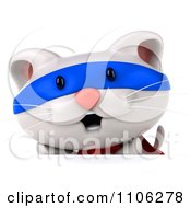 Clipart 3d Cute White Kitten Super Hero Over A Surface Royalty Free CGI Illustration