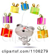 Clipart 3d Cute White Kitten With Floating Gift Boxes Royalty Free CGI Illustration