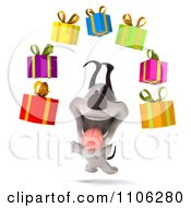 Clipart 3d Happy Jack Russell Terrier Dog With Floating Gift Boxes Royalty Free CGI Illustration