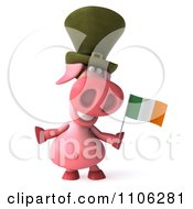 Clipart 3d Irish Pookie Pig Wearing A Hat And Holidng An Ireland Flag 1 Royalty Free CGI Illustration