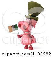 Clipart 3d Irish Pookie Pig Wearing A Hat And Holidng An Ireland Flag 2 Royalty Free CGI Illustration