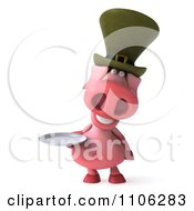 Clipart 3d Irish Pookie Pig Wearing A Hat And Holidng A Plate 1 Royalty Free CGI Illustration