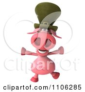 Clipart 3d Irish Pookie Pig Wearing A Hat And Jumping Royalty Free CGI Illustration by Julos