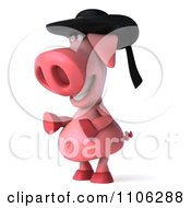 Clipart 3d Pookie Pig Wearing A Hat And Facing Left Royalty Free CGI Illustration