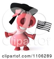 Clipart 3d Pookie Pig Wearing A Hat And Holidng A Breton Flag Royalty Free CGI Illustration