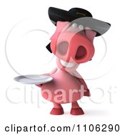 Clipart 3d Pookie Pig Wearing A Hat And Holidng A Plate Royalty Free CGI Illustration