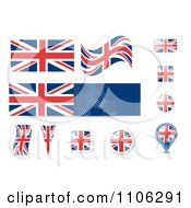 Clipart Union Jack British United Kingdom Flag And Button Design Elements Royalty Free Vector Illustration